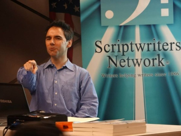 Dan Calvisi speaking at the Scriptwriters Network in Hollywood.