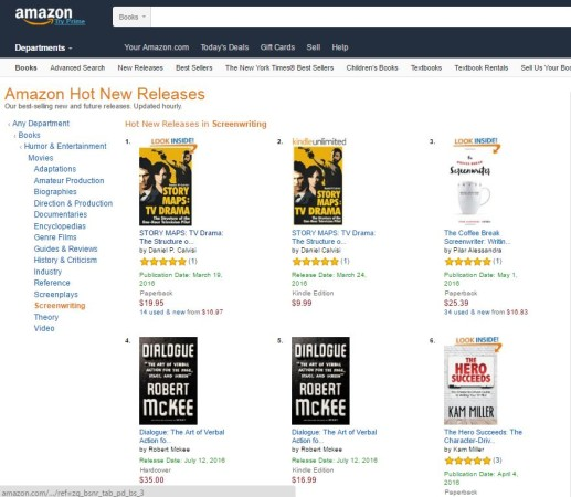 Story Maps #1 on Amazon screenwriting book charts