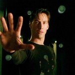 Neo (Keanu Reeves) stops bullets in The Matrix