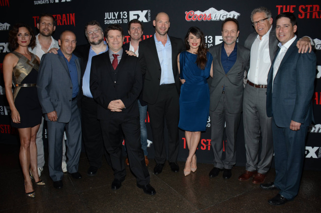 """The Strain"" cast with Showrunner Carlton Cuse (second from right)"